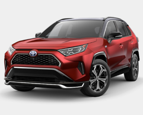 Red Toyota RAV4 Prime XSE for sale or lease at Westbury Toyota in Westbury NY.