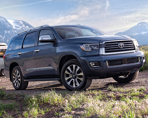 Blue Toyota Sequoia Limited for sale or lease at Bill Dube Toyota in Dover.