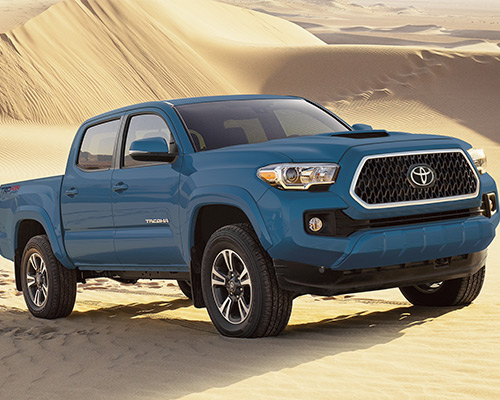 Blue Toyota Tacoma TRD Sport for sale or lease at Bill Dube Toyota in Dover.
