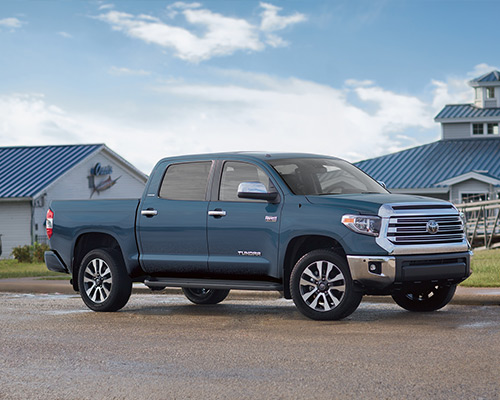 Blue Toyota Tundra Limited available for sale or lease here at Bill Dube Toyota in Dover.