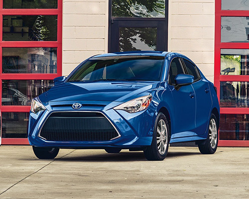 Blue Toyota Yaris L for sale or lease at Toyota of Grand Rapids in Grand Rapids.