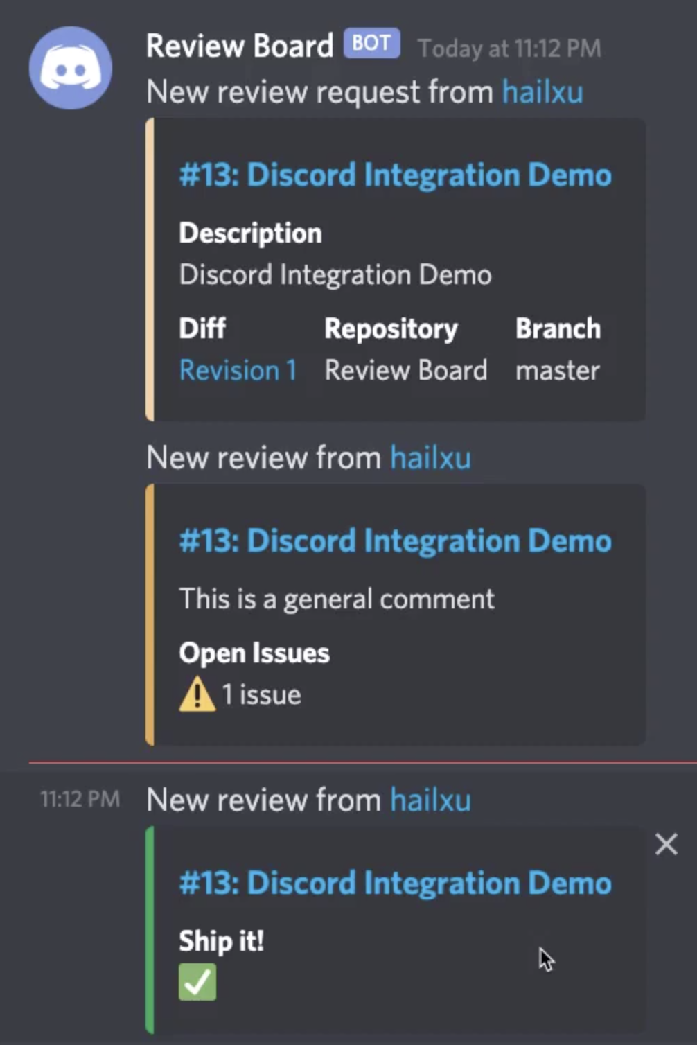 Screenshot of the new Discord integration in use
