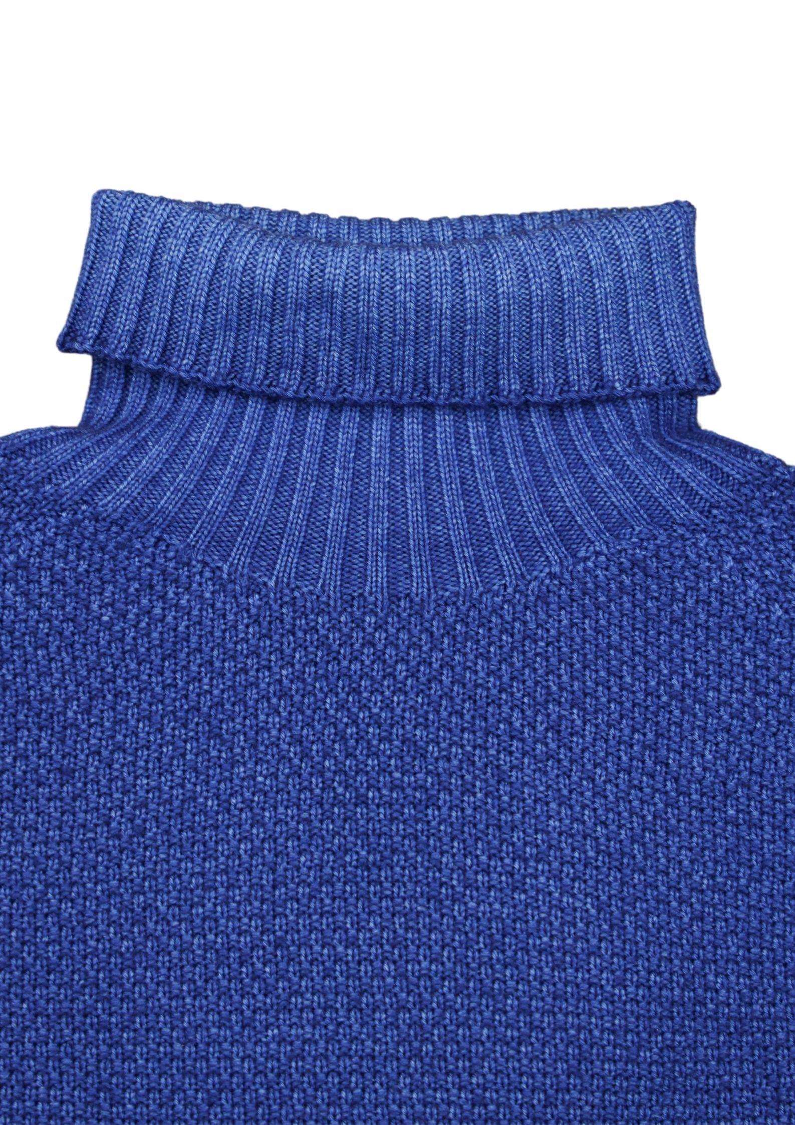 maglia collo alto grana riso in merino effetto brinato H953 | Maglieria | 294172