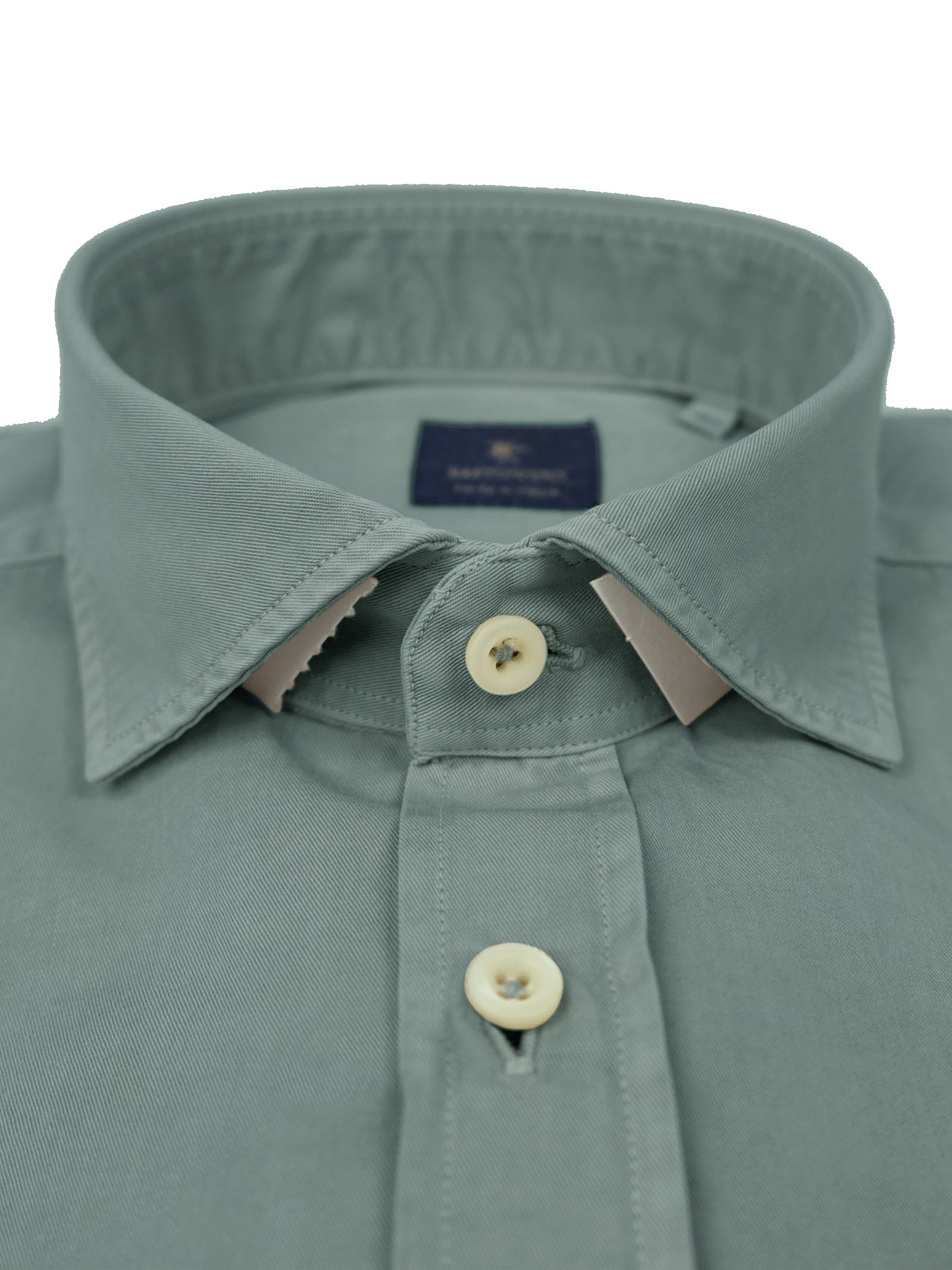 Garment dyed  , cotton twill shirt,semi slim fit BASTONCINO | Shirts | SIMOB1379 07
