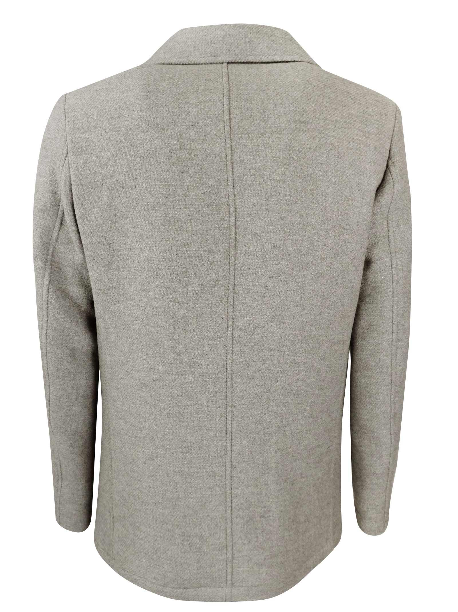 Giaccone doppio petto Peacoat  in lana idrorepellente  con cordage salva gola in tinta CAMPLIN | Giacconi | NORTH PEACOATCO N
