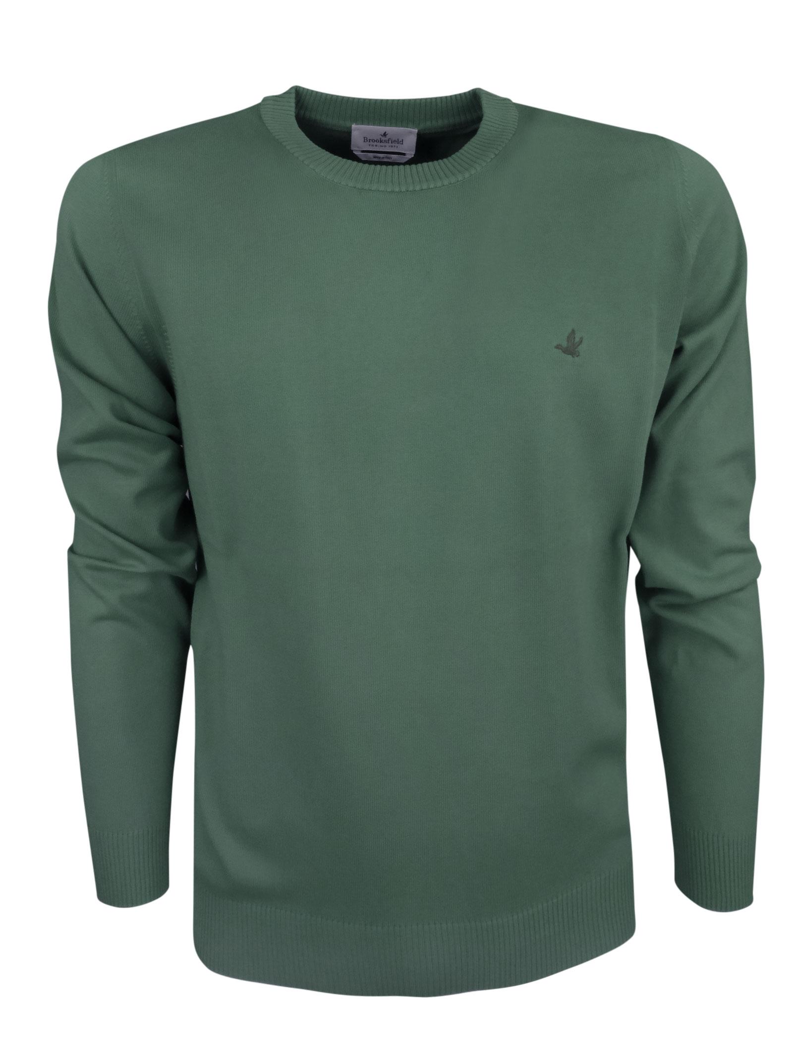Crew neck cotton  sweater, contrast logo . BROOKSFIELD   Knitwear   203E.A0217240