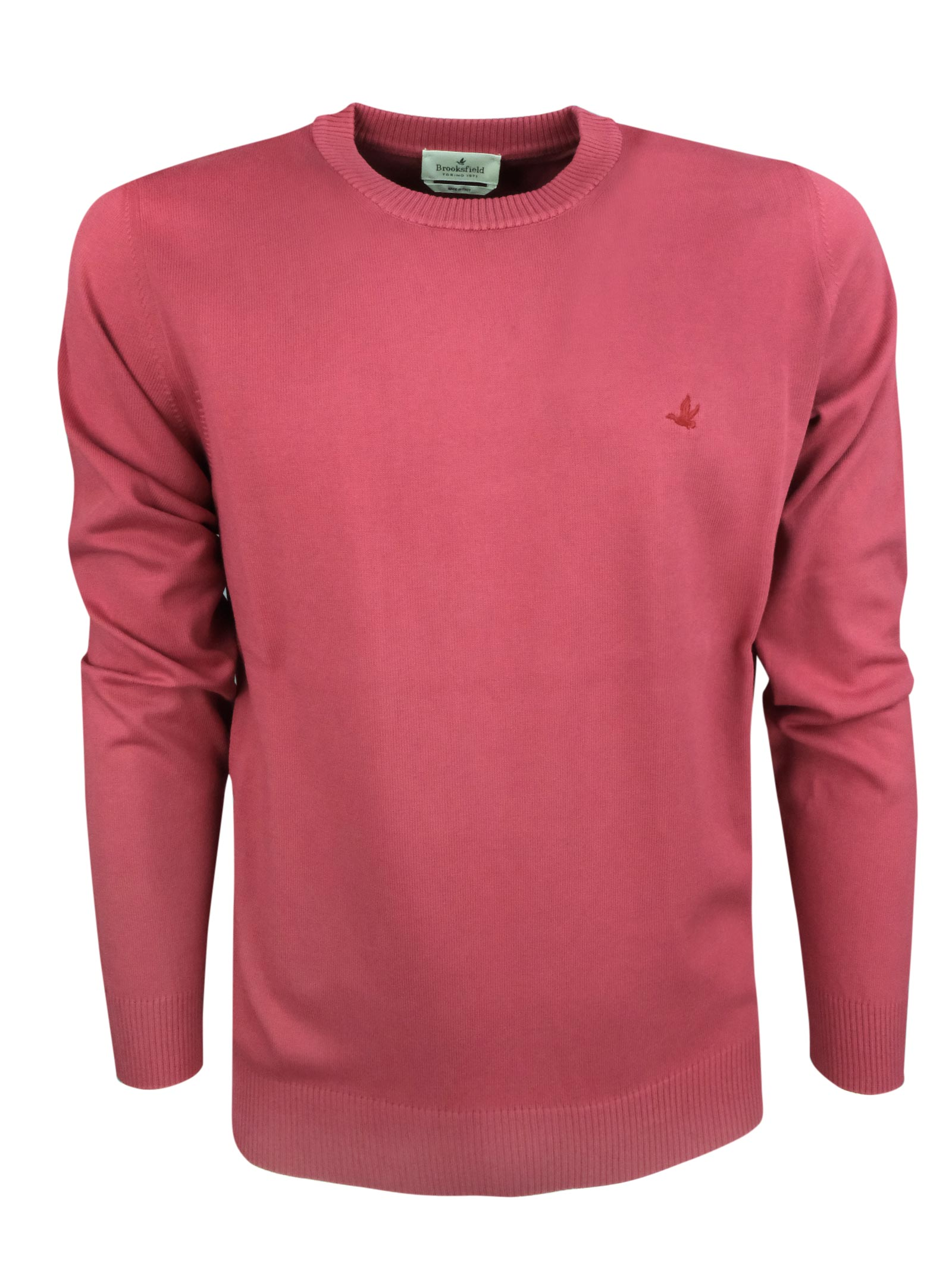 Crew neck cotton  sweater, contrast logo . BROOKSFIELD   Knitwear   203E.A0217242