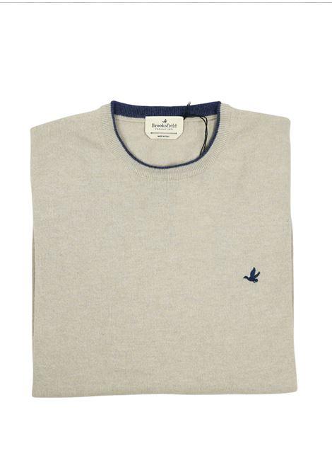 Crew neck lambswool sweater  tipped collar BROOKSFIELD | Knitwear | 203E K015133