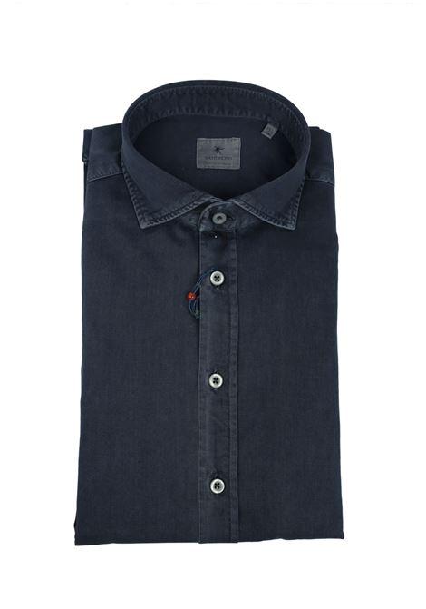 Garment dyed  , cotton twill shirt,semi slim fit BASTONCINO | Shirts | SIMOB1379 12