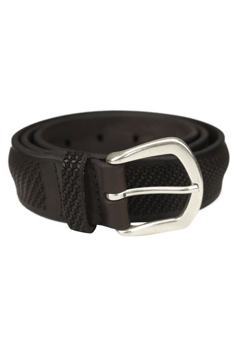 Laser-cut leather belt with honeycomb design ORCIANI   Belts   8051MORO