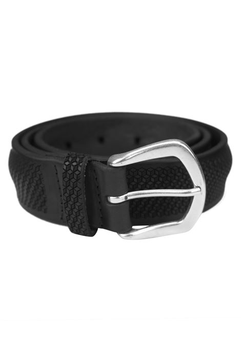 Laser-cut leather belt with honeycomb design ORCIANI   Belts   8051NERO