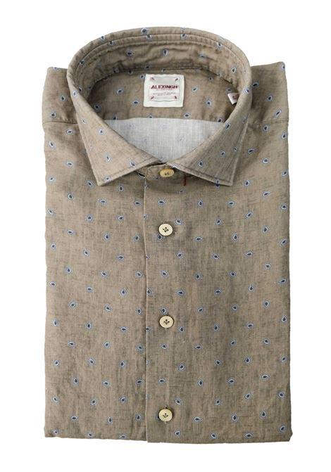 Camicia in lino con microstampa ALEX INGH | Camicie | 657703