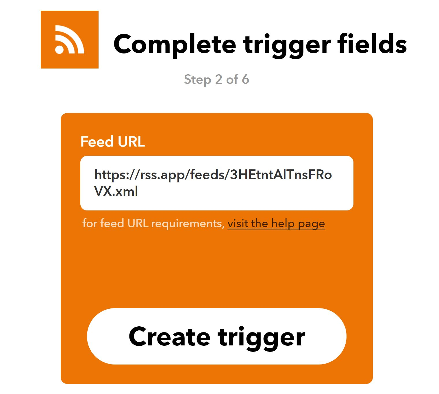 Create RSS Trigger