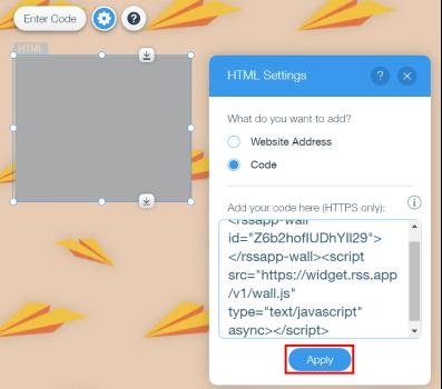 apply rss widget code