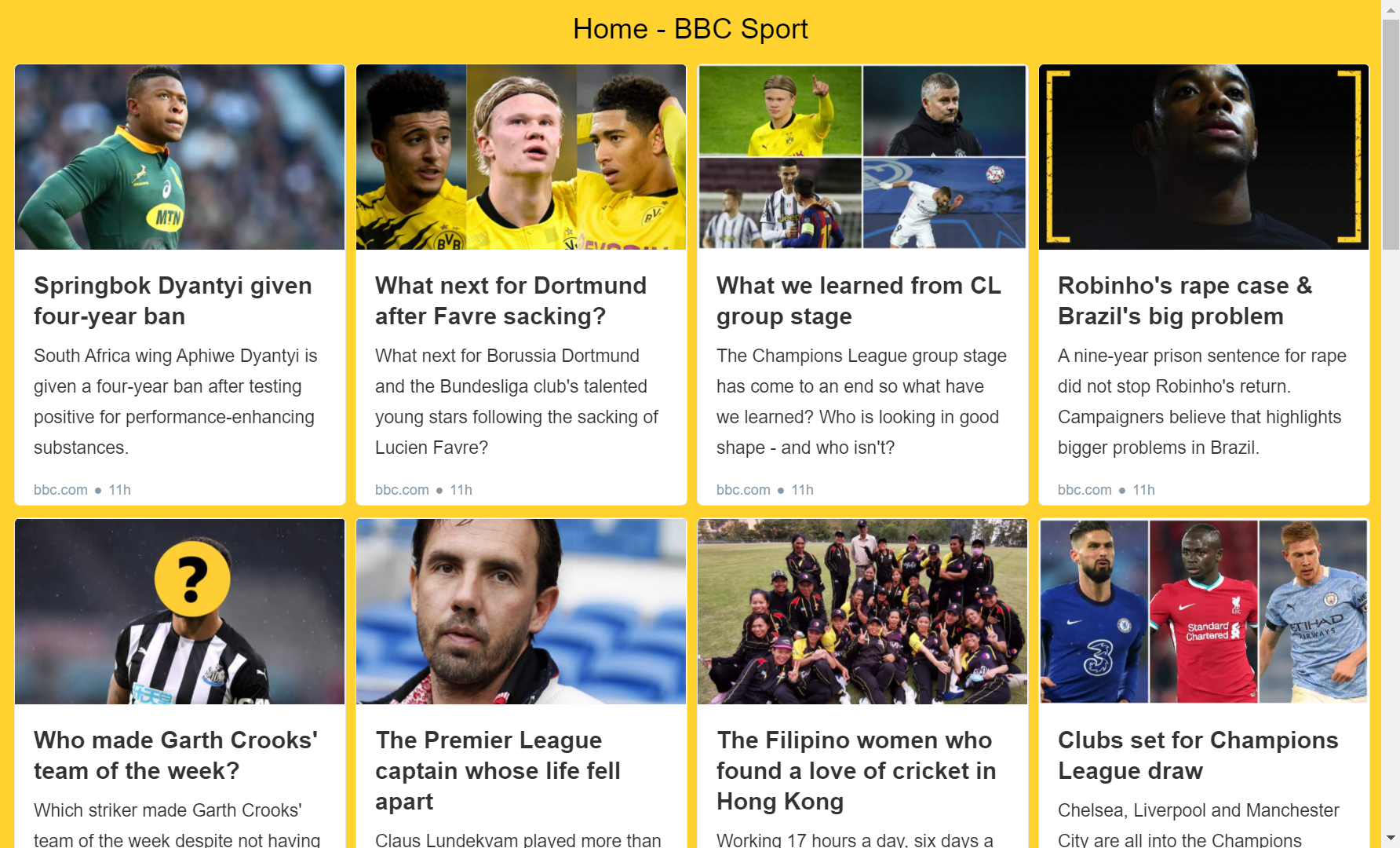 BBC Sports RSS feed