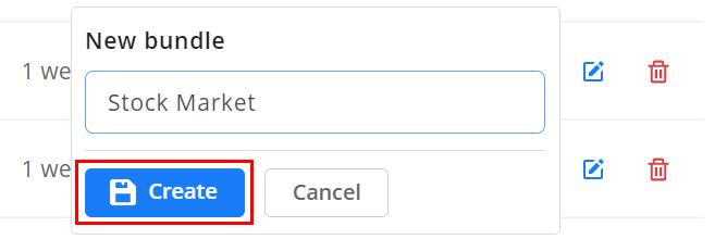 Create bundle button