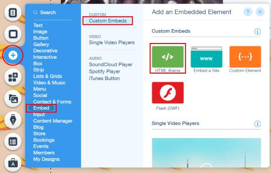 embed rss widget into wix website
