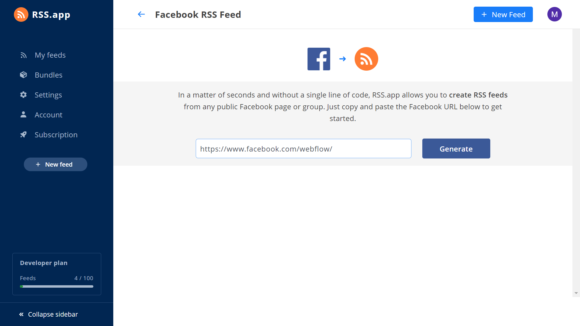 generate RSS feed from Facebook