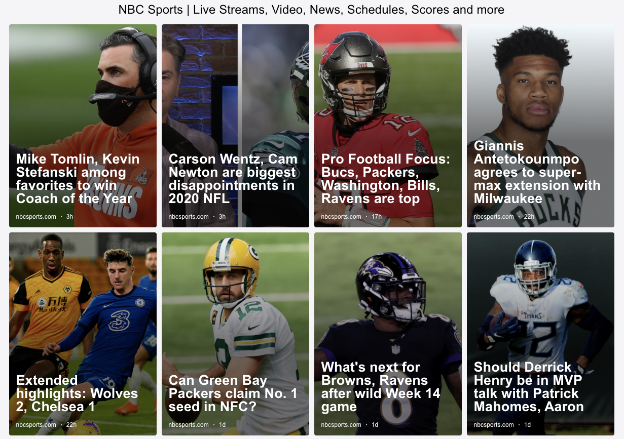 NBC Sports RSS feed