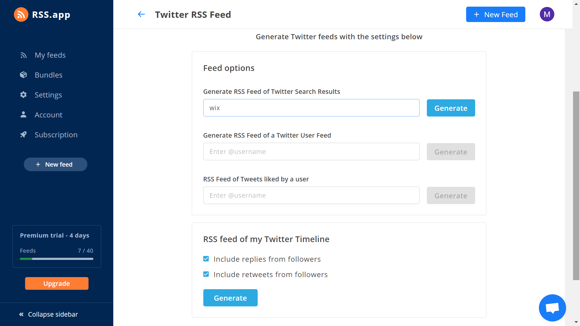 Generate RSS feed with hashtags from twitter abd instagram