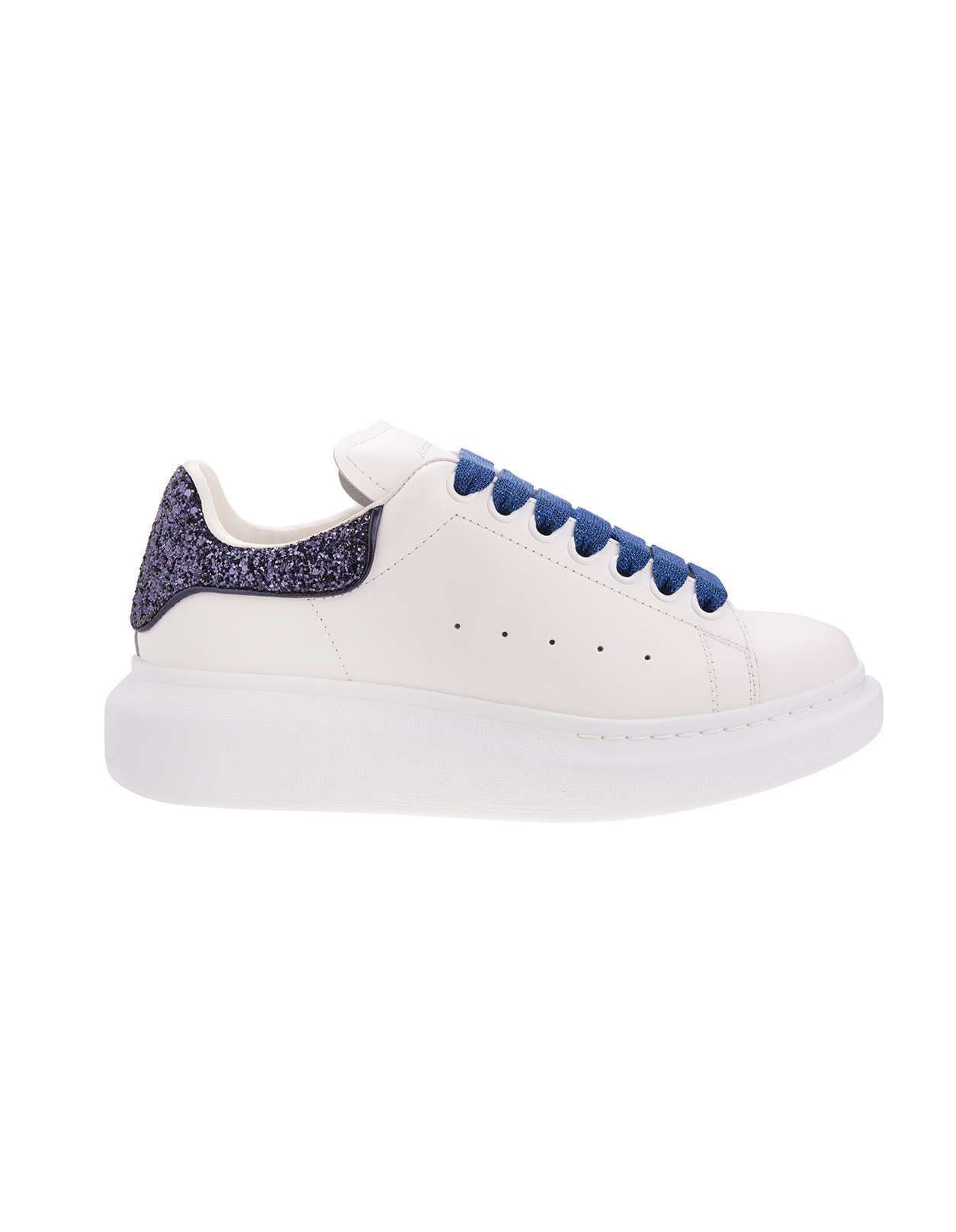 White Oversized Sneakers With Blue/Purple Glitter Details