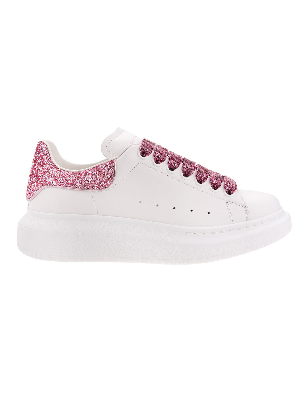 White Oversized Sneakers With Pink Glitter Details