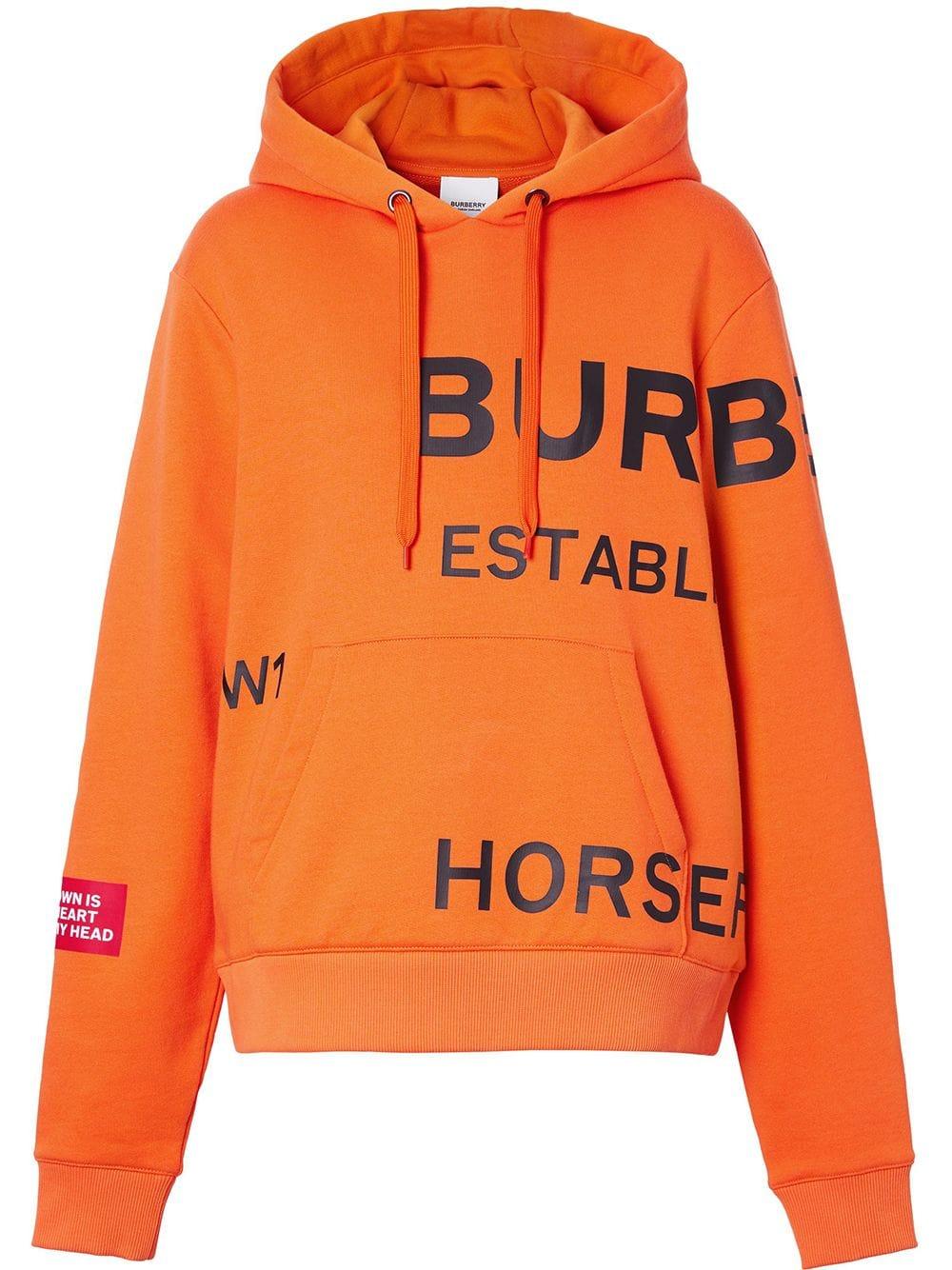 nuovo stile cae77 7c290 Felpa Oversize Arancione Con Cappuccio e Stampa Horseferry