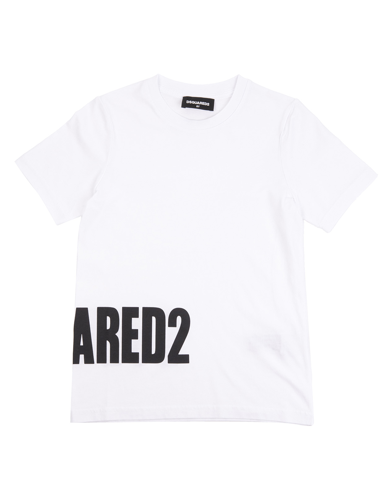 9449670a9d813 White T-Shirt With Black Logo On The Side - DSQUARED2 - Russocapri