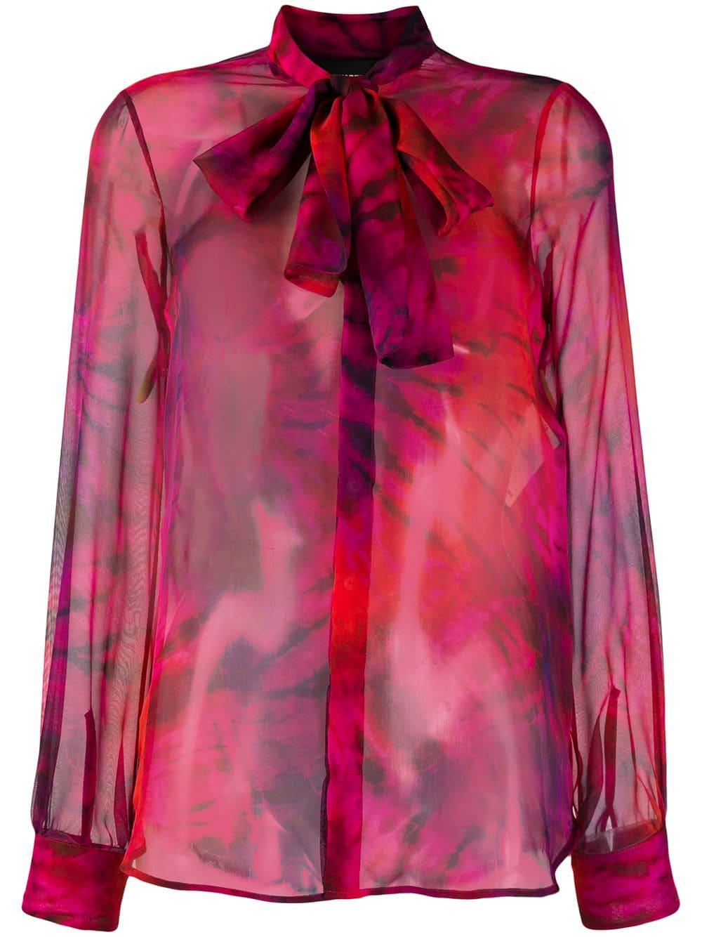 official photos eb046 1dd94 Camicia In Seta Rossa Con Stampa Tie Dye