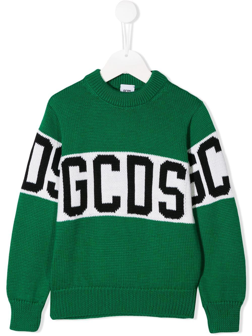 new styles 05b8c 0b4cd Maglione GCDS Kids Verde Con Logo