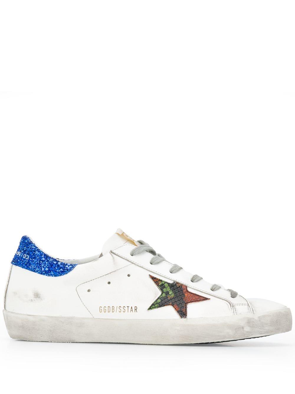 9212a30979f White Superstar Sneakers With Blue Glitter Spoiler - GOLDEN GOOSE -  Russocapri