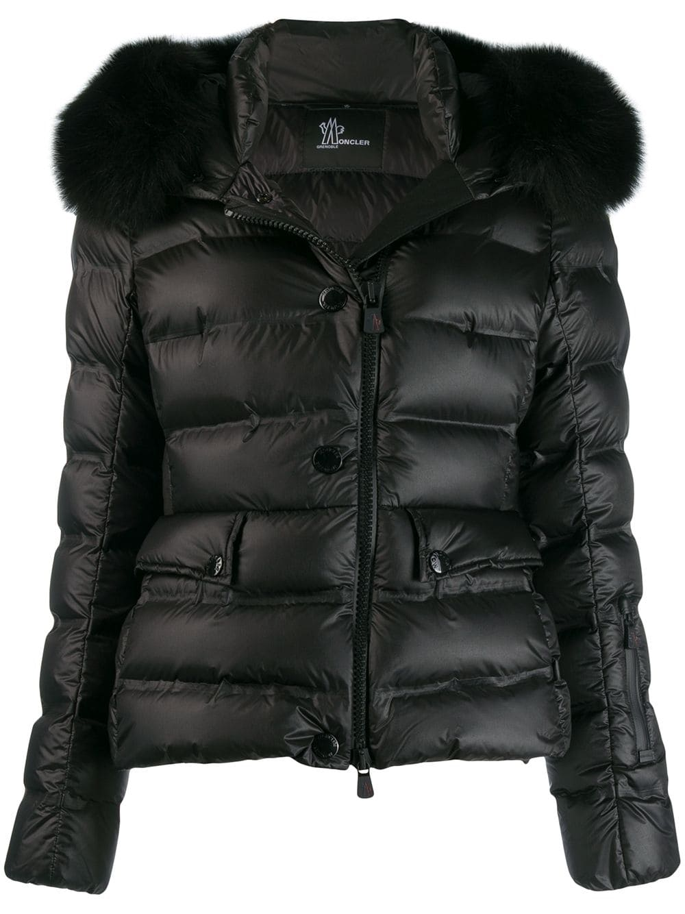 0426fa311 Black Down Jacket With Fur Insert