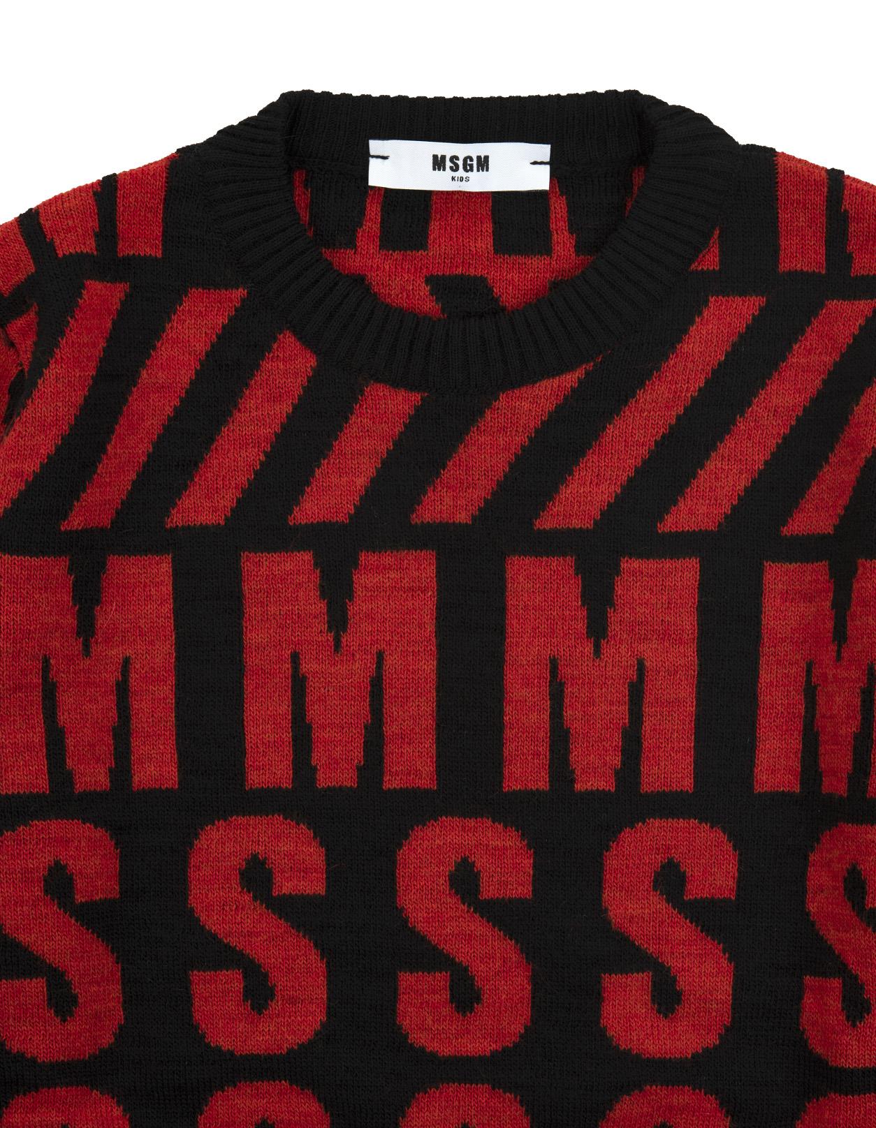 scarpe di separazione 1fc28 e1355 Maglione MSGM Kids Rosso e Nero Con Maxi Logo All-Over