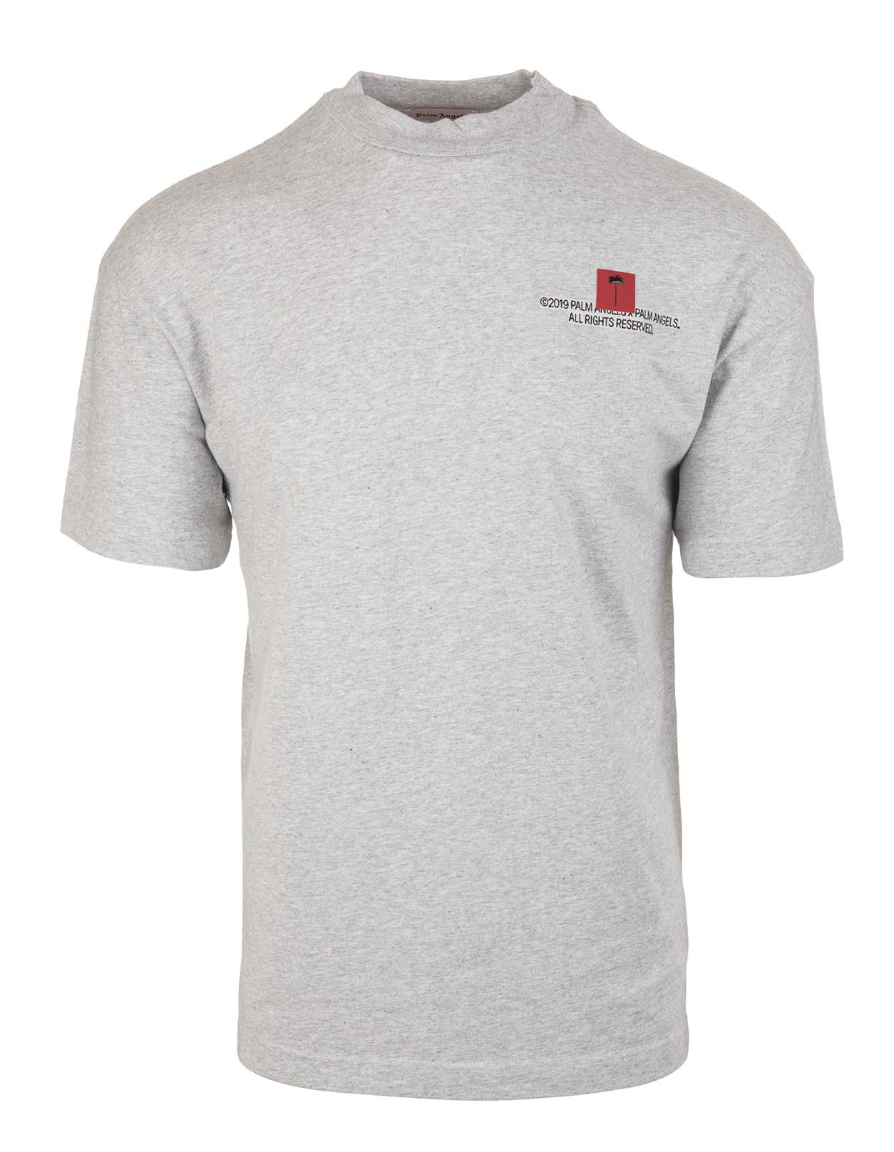 1fb6109a5bb Grey Cotton Logoed T-Shirt - PALM ANGELS - Russocapri