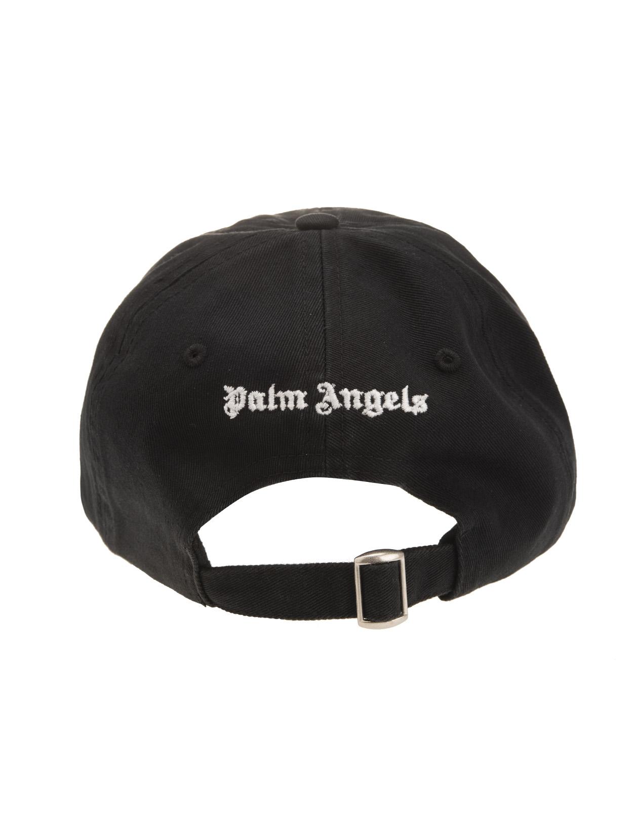6e02dc59 Black Baseball Cap With White Logo - PALM ANGELS - Russocapri
