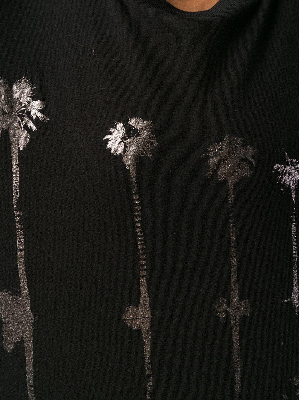 4b66dd5ba24 T-Shirt Nera Con Palme Argentate - SAINT LAURENT - Russocapri