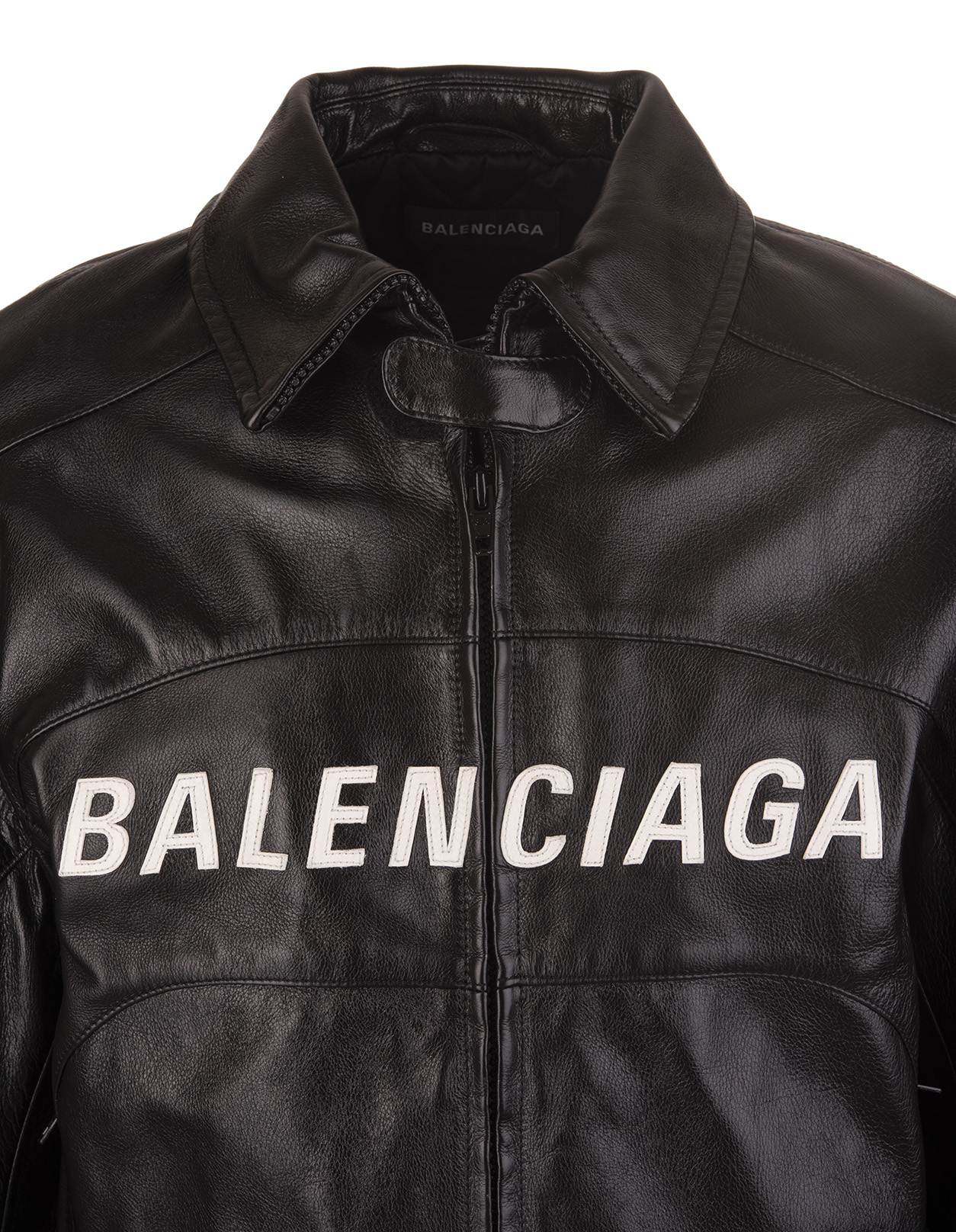 06349a826 Black Leather Biker Jacket With Front White Logo