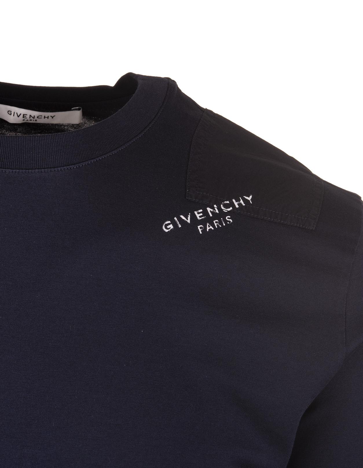 fa75bd1e4a T-Shirt Slim-Fit Blu Navy Con Logo Sulla Spalla