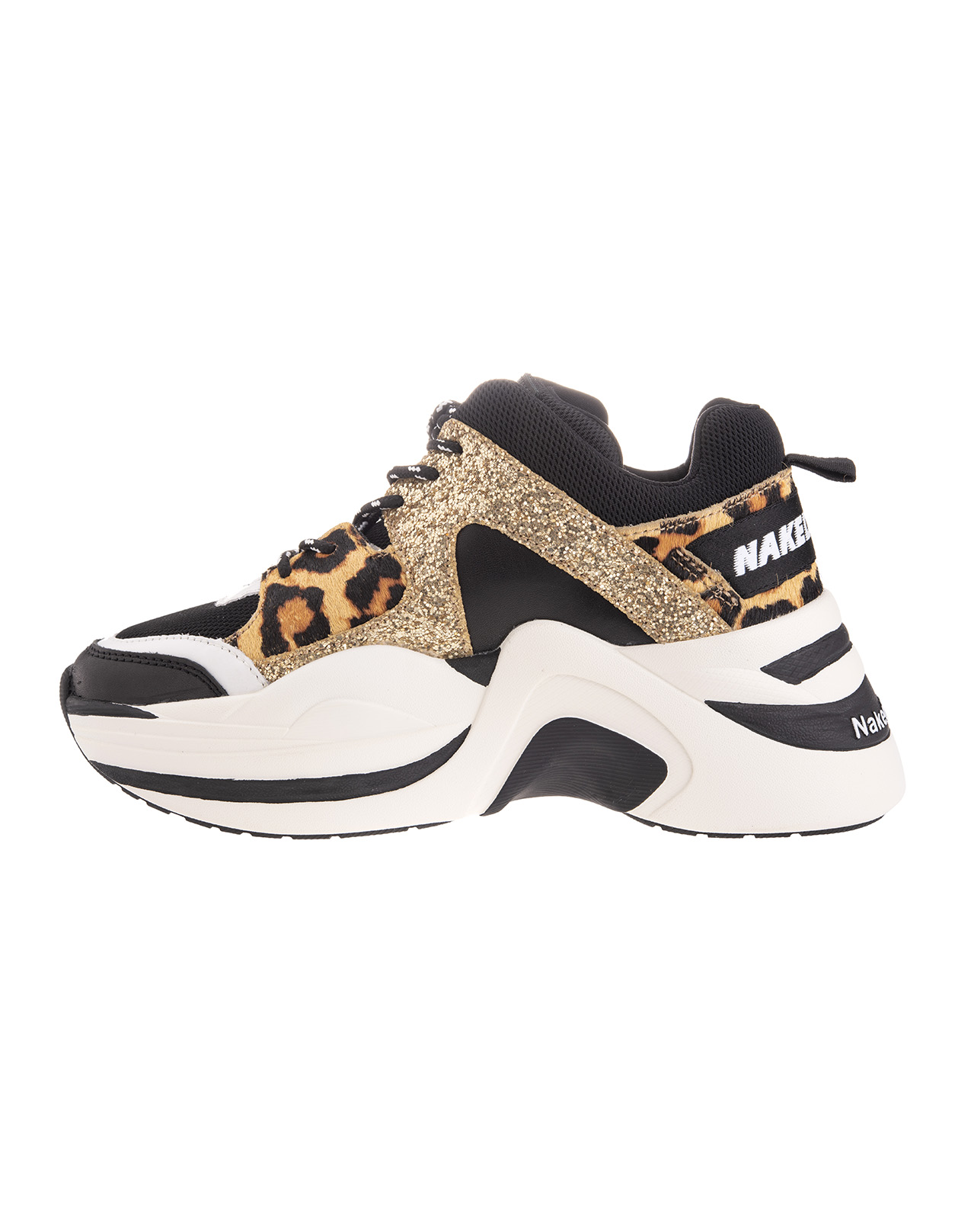 Black Track Sneakers With Gold Glitter And Leopard Print