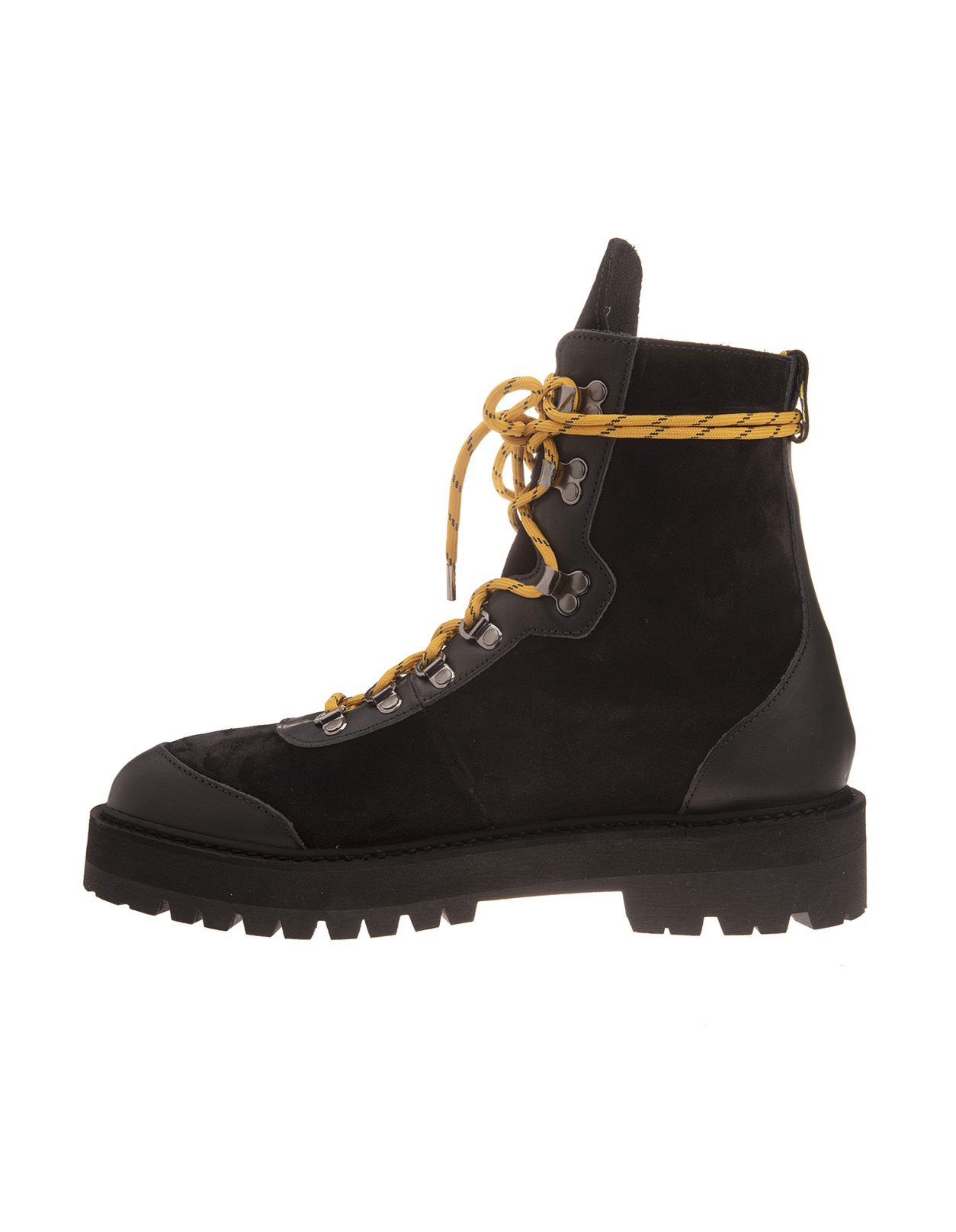 Black Hiking Boots With Yellow Laces