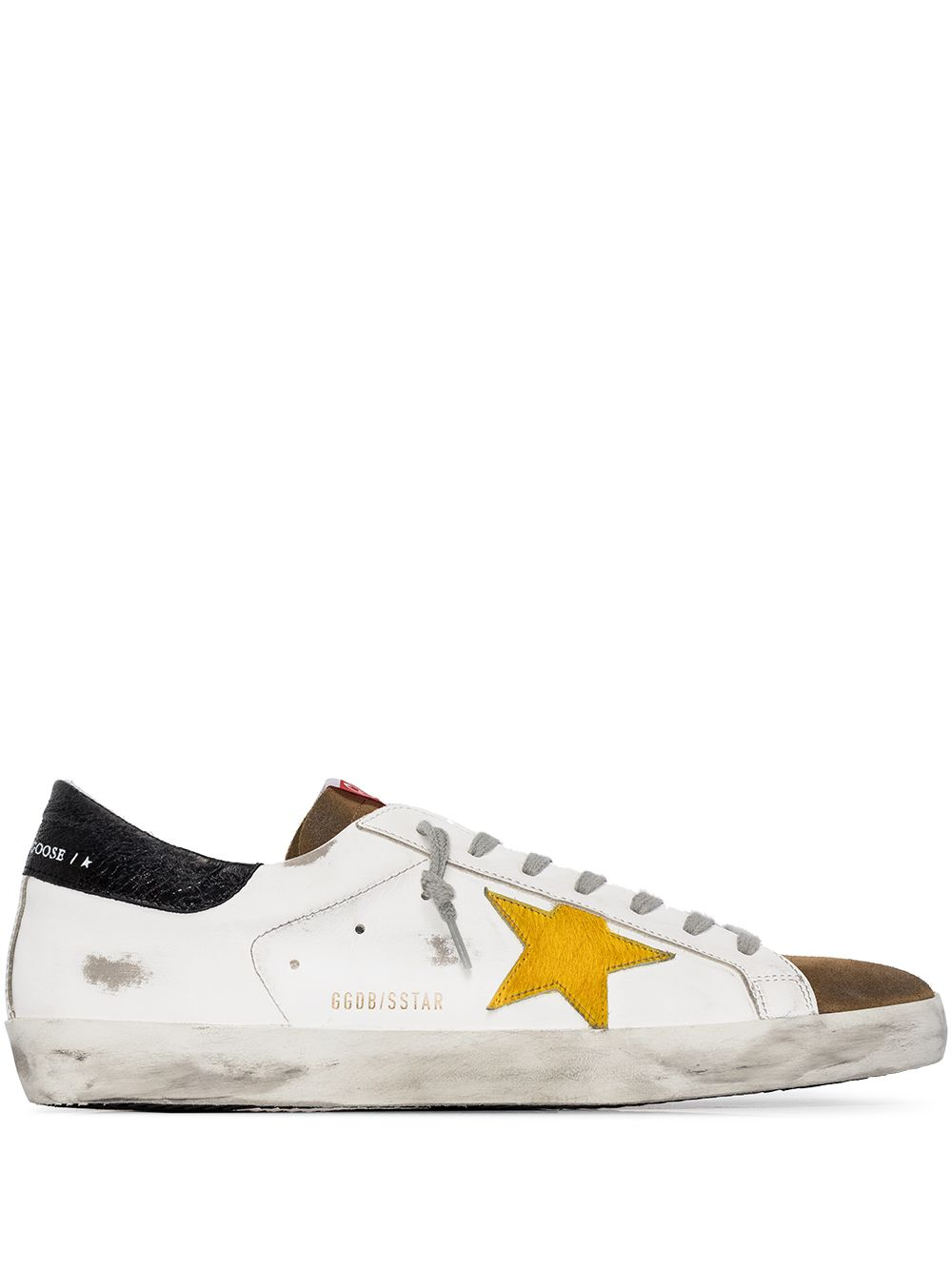 White and Brown Super Star Man Sneakers