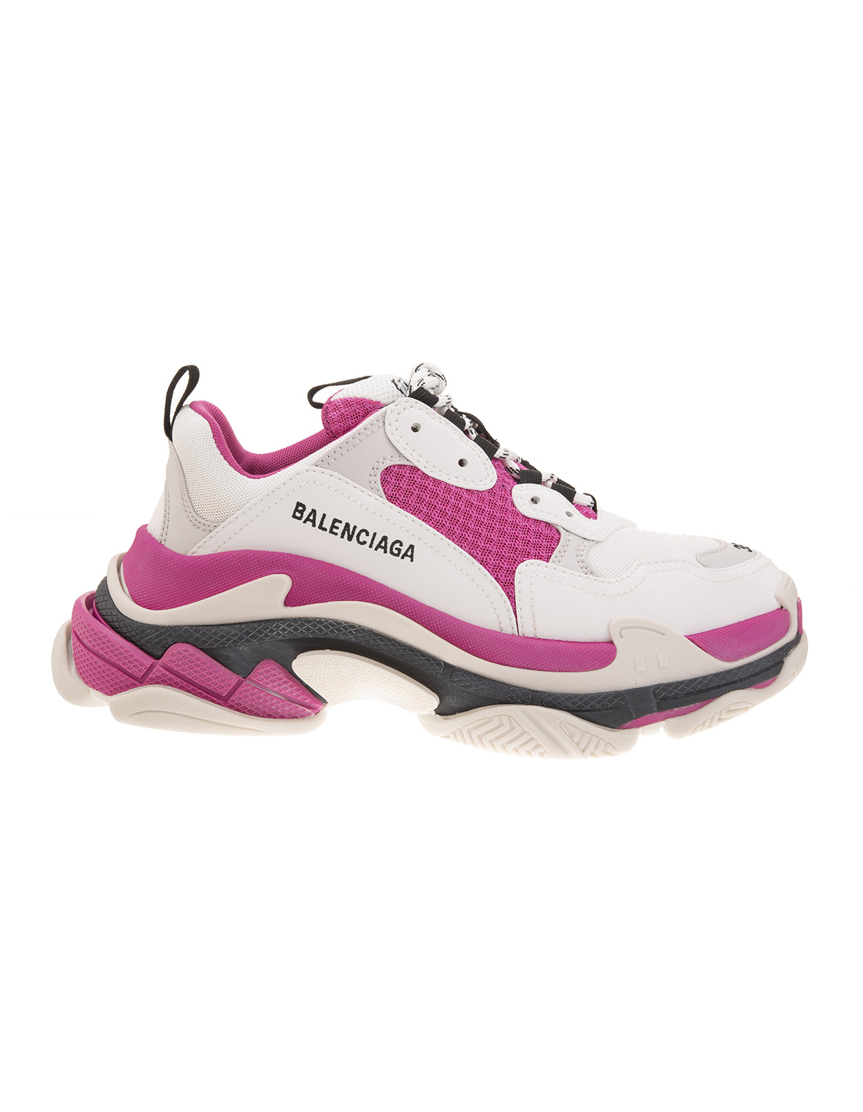 White And Pink Woman Triple S Sneakers