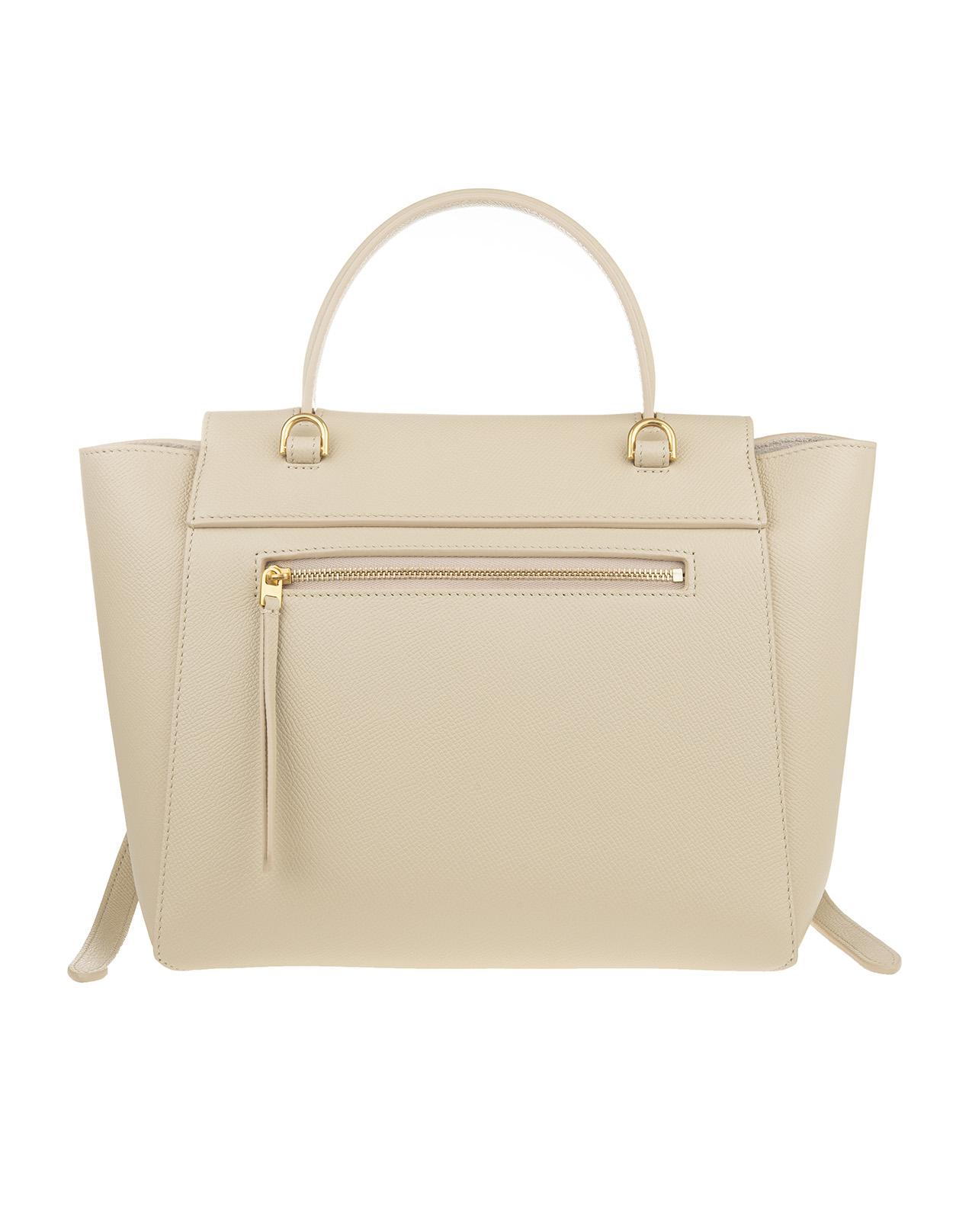 Micro Belt Bag In Cream Grained Calf Leather Celine Russocapri