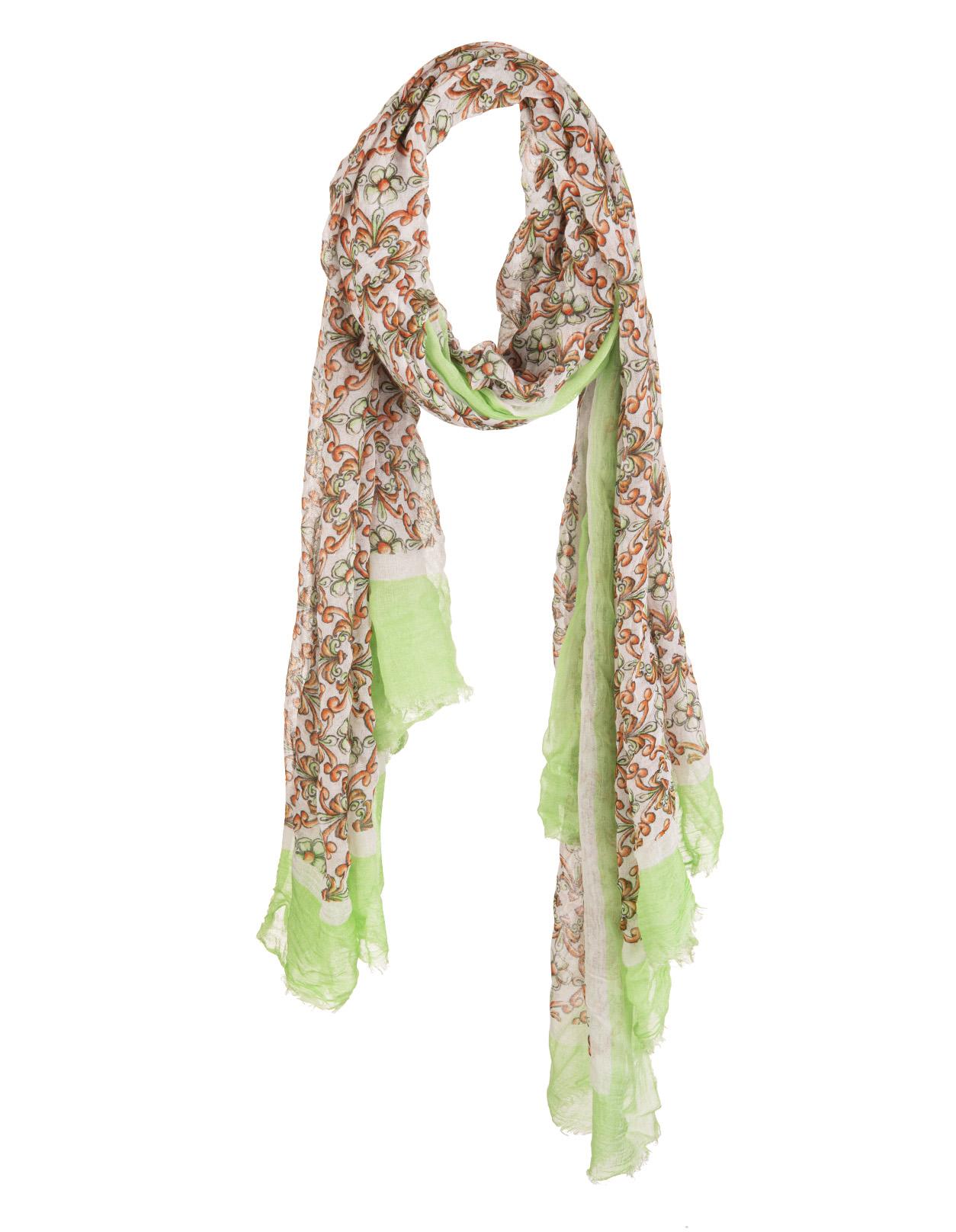 design innovativo imbattuto x stile di moda del 2019 Sciarpa Bianca Con Maioliche Arancioni e Verde Chiaro