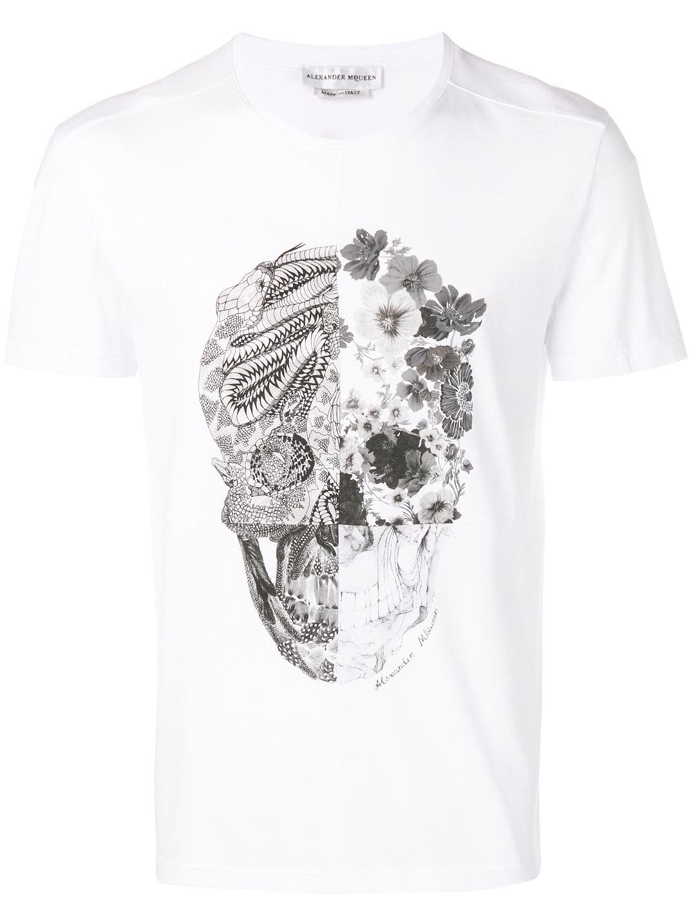ca79aa92e White T-Shirt with patchwork Skull - ALEXANDER MCQUEEN - Russocapri