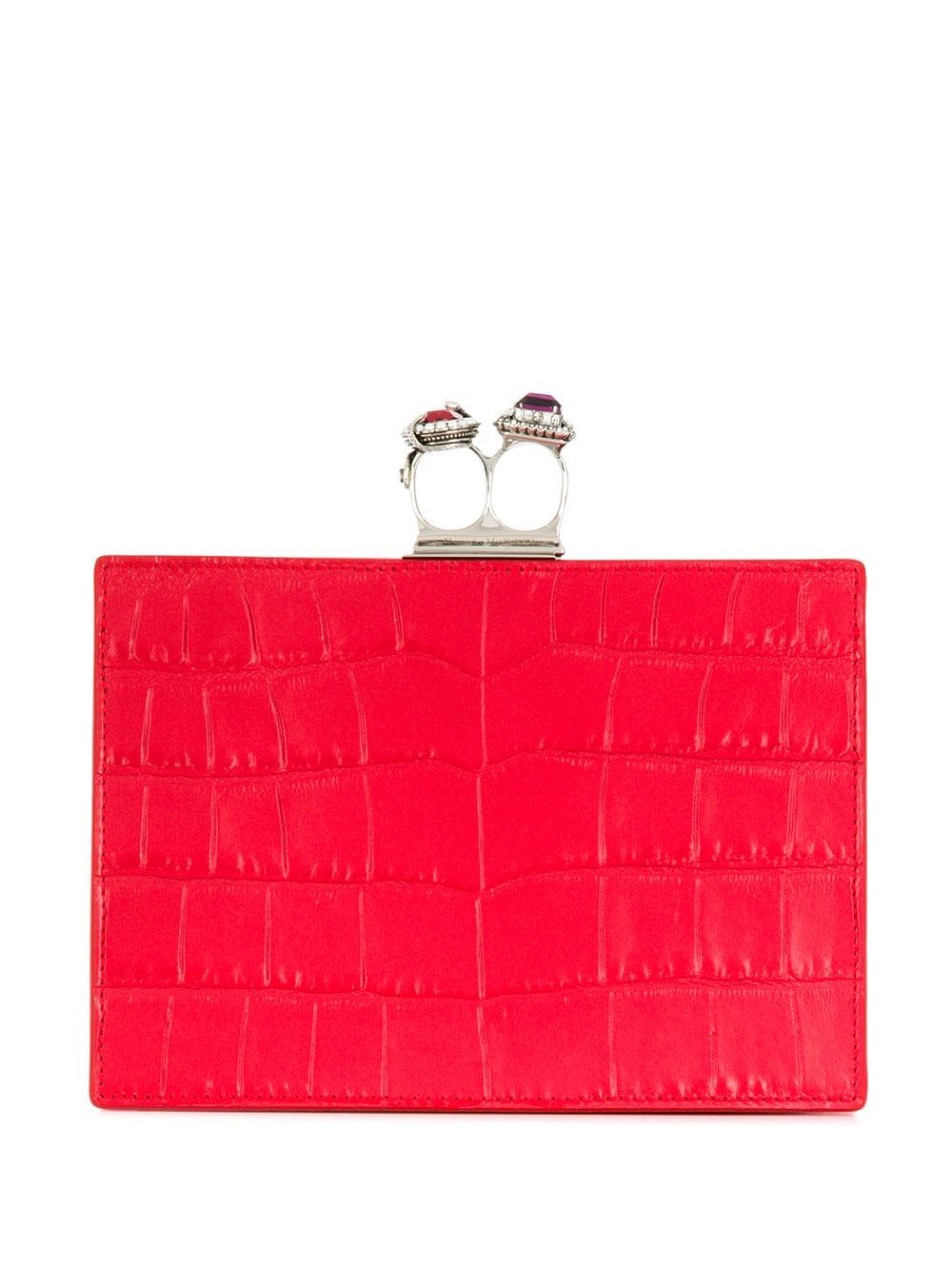 87b6c4ce8 Crocodile-effect jewelled leather clutch - ALEXANDER MCQUEEN - Russocapri