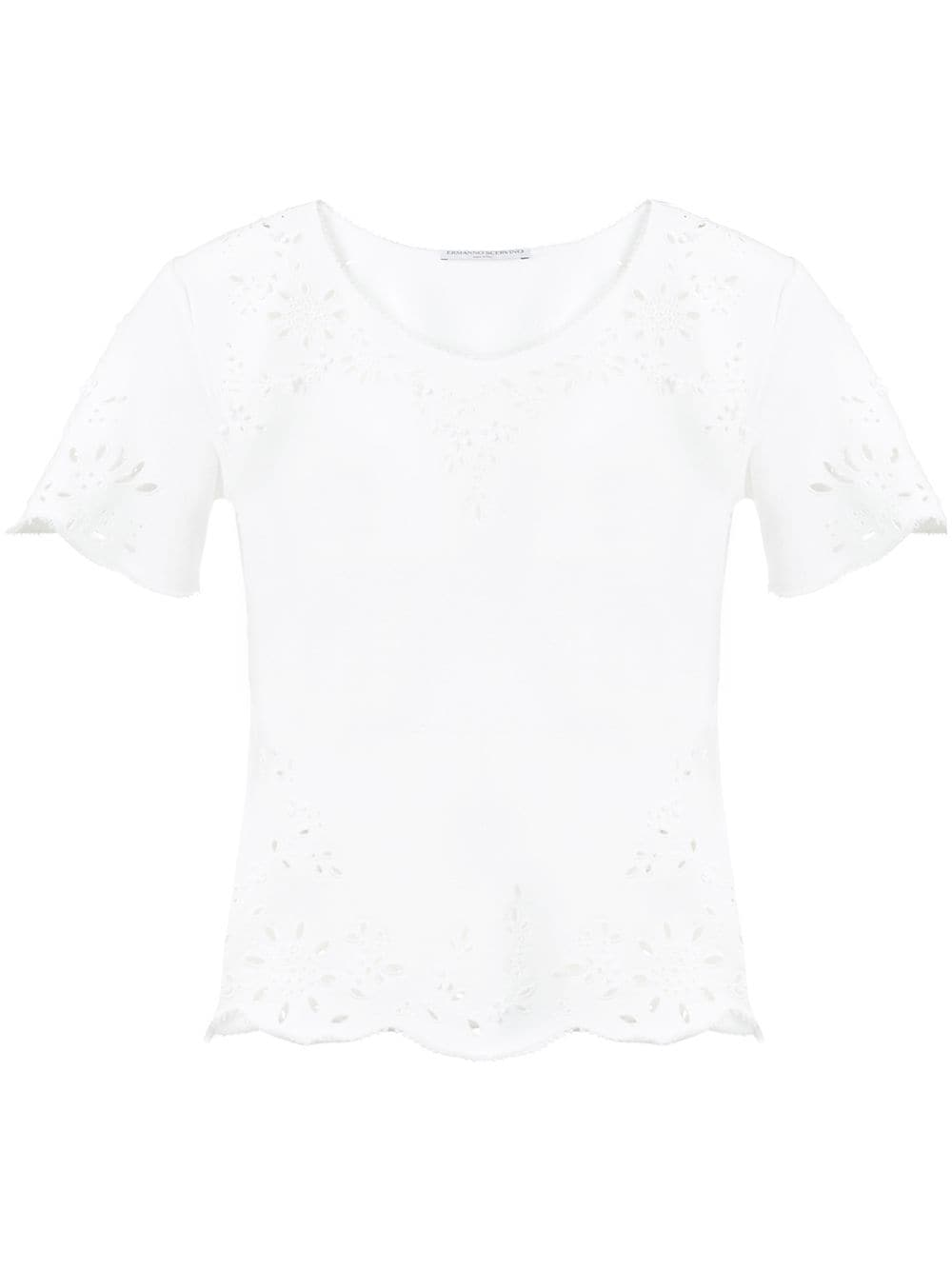 b41f0a0b046 White T-Shirt With Cut-Out Detail - ERMANNO SCERVINO - Russocapri