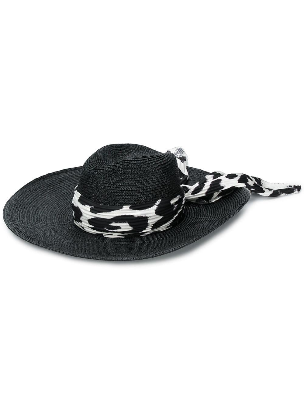 bf5b65f049bd6 Black Hat With Printed Foulard - ERMANNO SCERVINO - Russocapri