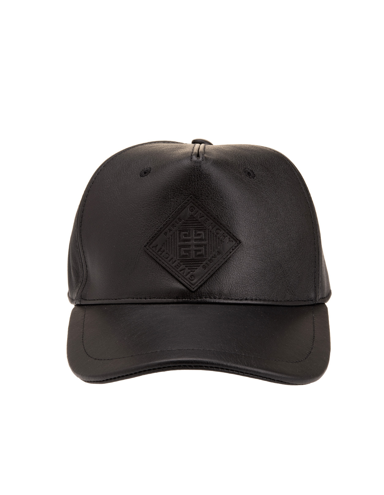f4739b76625 Black Leather Cap With GIVENCHY 4G Application - GIVENCHY - Russocapri
