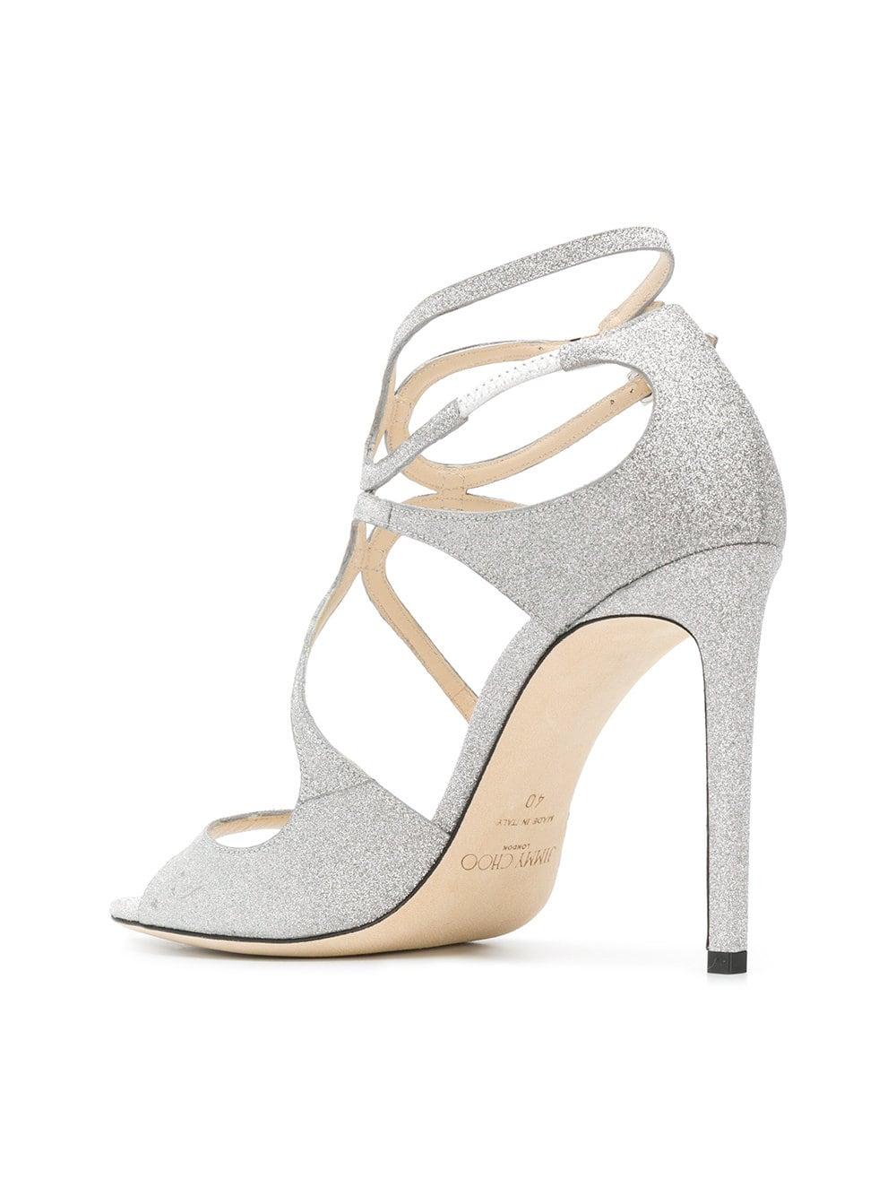 1a6988596600 Silver Glitter LANG Sandals - JIMMY CHOO - Russocapri